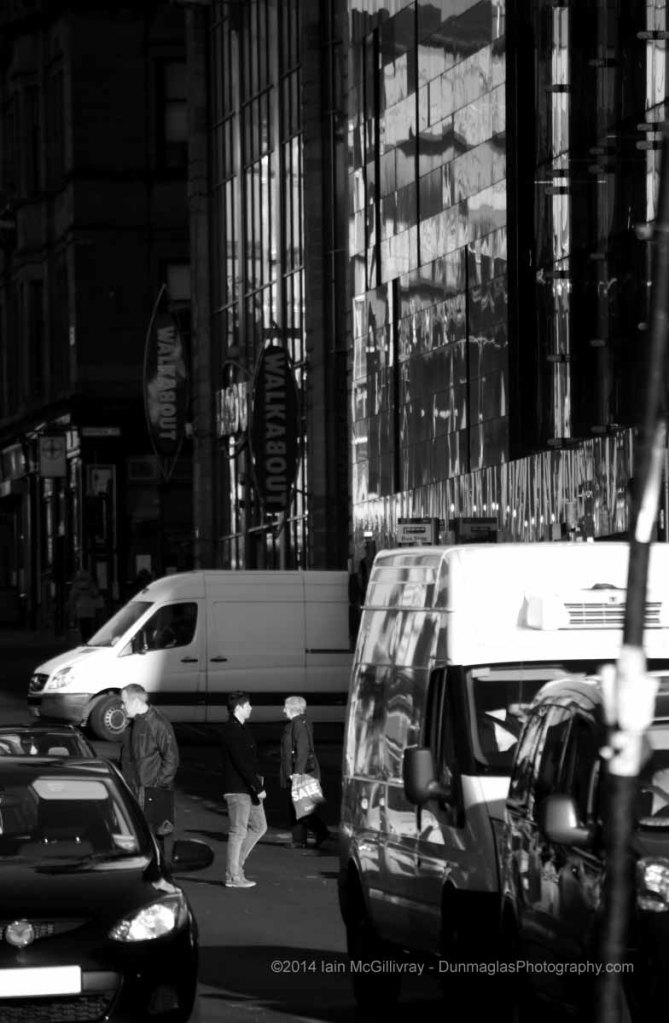 Street Scene on Renfield Street in the City Centre in Glasgow, Scotland  - black and white monochrome urban and street scenes project collections from Dunmaglas Photography
